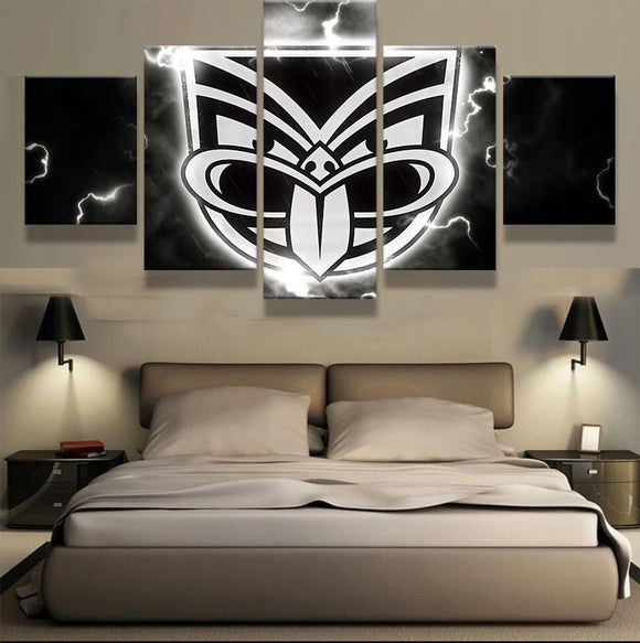 5 Pieces Black And White Logo Wall NZ warriors - Urban Street Canvas