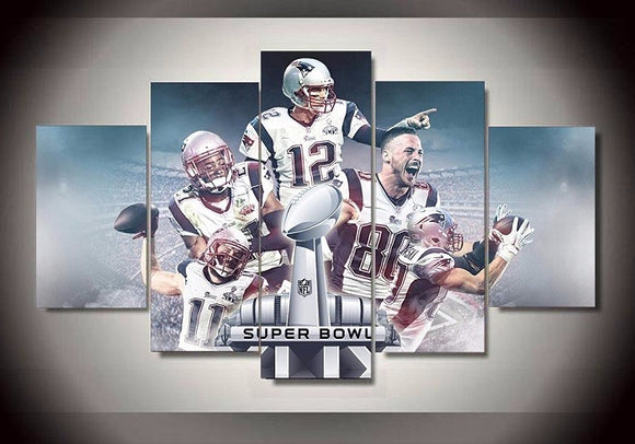 5 Pieces New England Patriots Football Super Bowl  Canvas - Urban Street Canvas