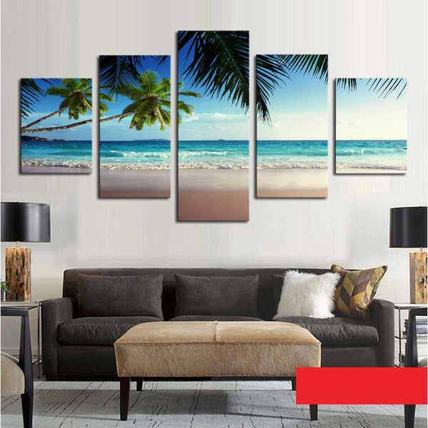 5 Panel Coconut Tree Blue Sky Seascap Canvas Art - Urban Street Canvas