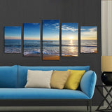 5 Panel Sunshine Beach Seascape Canvas - Urban Street Canvas