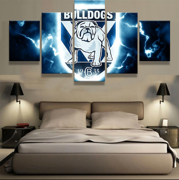 NRL 5 Panel Bulldogs Sports Team - Urban Street Canvas