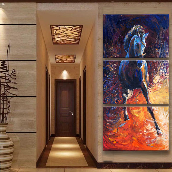 Frame 3 Panel Horse Painting on Canvas - Urban Street Canvas