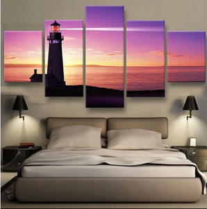 5 Panel Modern Printed Lighthouse Sunset On Canvas - Urban Street Canvas
