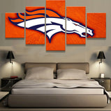 5 Panel Denver Broncos Logo Sports American Football Canvas - Urban Street Canvas