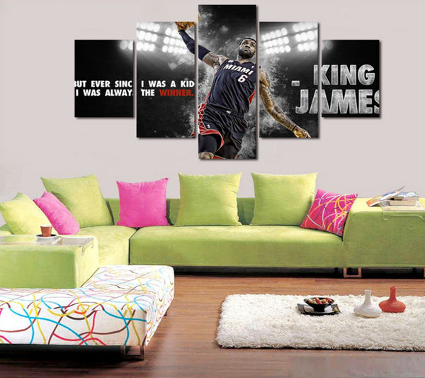 5 Panels Basketball Player Canvas King James - Urban Street Canvas