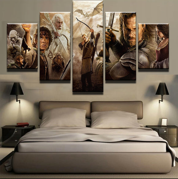 5 Panel Lord Of The Rings Movie Canvas