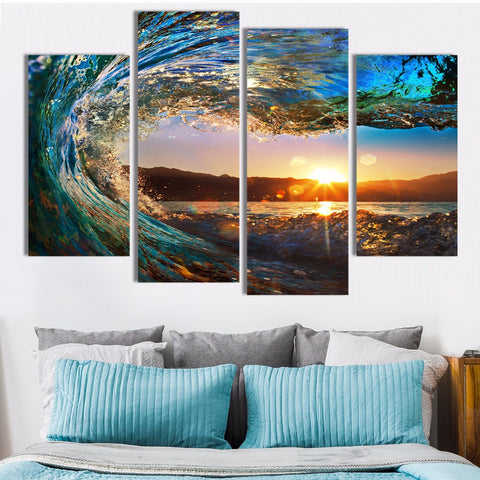 4 Panels The Rolling Waves Painting Canvas Wall Art - Urban Street Canvas