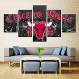 5 Pieces Chicago Bulls City Wall Art Picture Modern Home Decoration - Urban Street Canvas