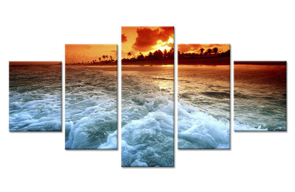 5 Panel Sunset Beach Seascape Wall Art Canvas - Urban Street Canvas