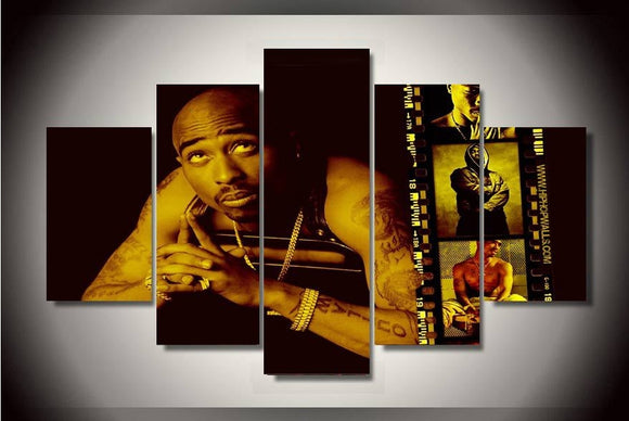 5 Pieces Hip Hop Artist Tupac Amaru Shakur Canvas - Urban Street Canvas