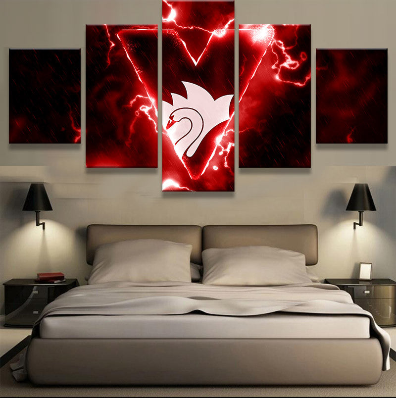 AFL 5 Pieces Sydney Swans Sports On Canvas - Urban Street Canvas