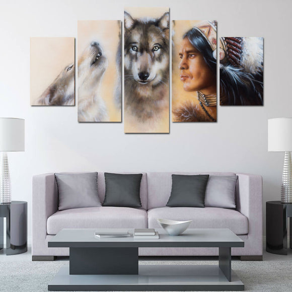 5 Panel Canvas Native American Indian and Wolf - Urban Street Canvas