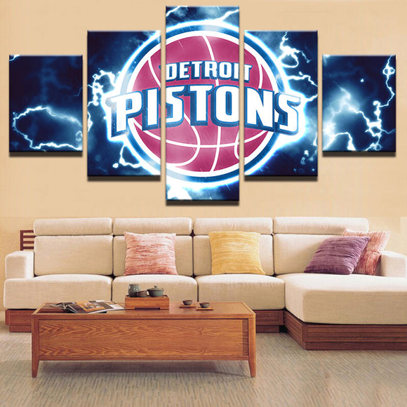 NBA 5 Pieces Pistons Sports Canvas - Urban Street Canvas