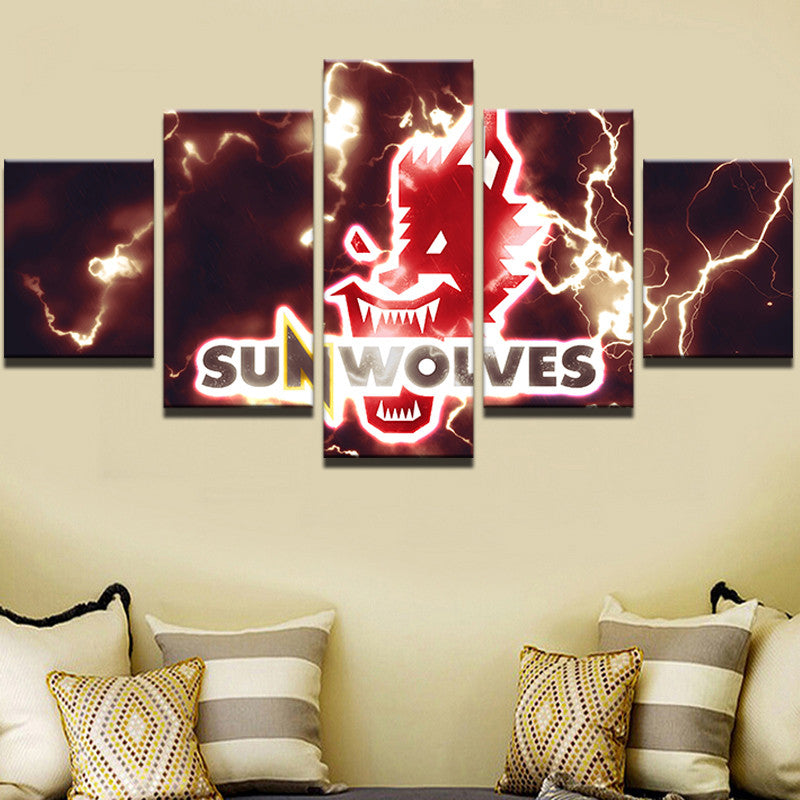 5 Panels Sun Wolves Sports Canvas - Urban Street Canvas