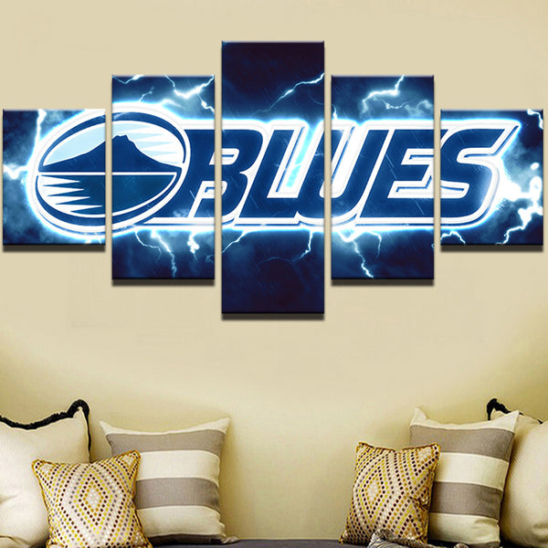 5 Panel Blues Sports Print On Canvas - Urban Street Canvas