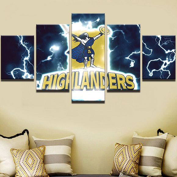 5 Panel Highlanders Rugby Sports Team Canvas