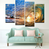4 Pieces Sunset Sea Wave Seascape Modern Canvas - Urban Street Canvas