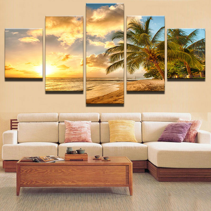 5 Pieces Sunset Sea Wave Trees Seascape Canvas - Urban Street Canvas