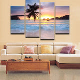 4 Pieces Modern Sunset Sea Canvas Art HD - Urban Street Canvas