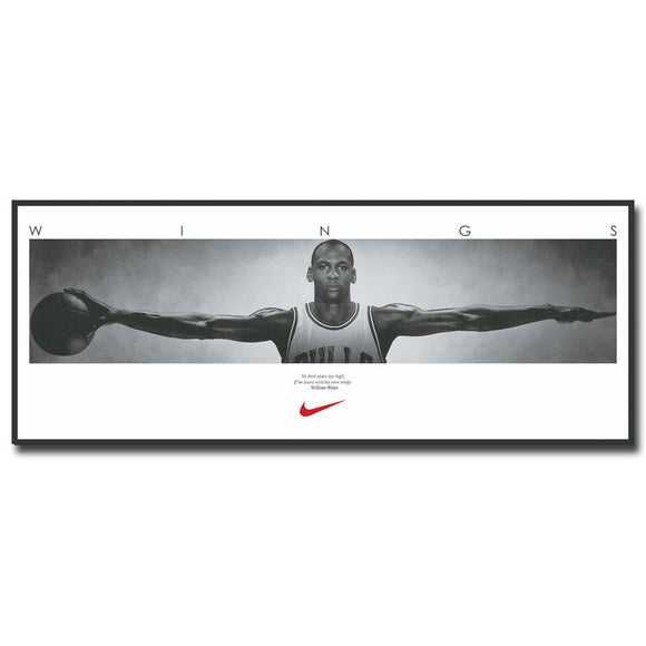 Michael Jordan Wings Basketball Art Silk Fabric Poster Print 13x33 inch - Urban Street Canvas