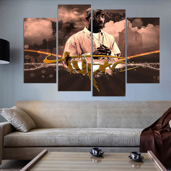 2Pac Tupac 4pc Canvas - Urban Street Canvas