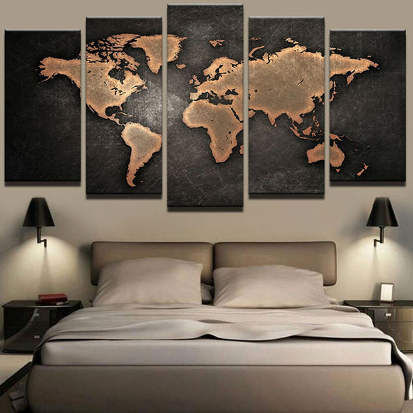 5 Peice World Map Wall Art Picture Modern