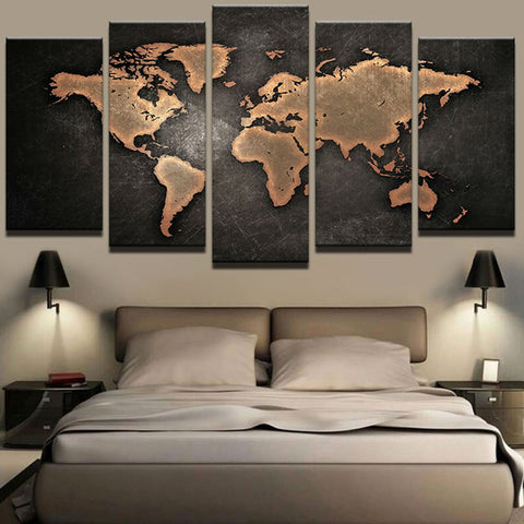 5 Peice World Map Wall Art Picture Modern - Urban Street Canvas