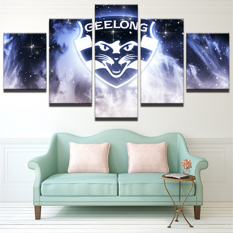 AFL 5 Panel Canvas Geelong Cats - Urban Street Canvas