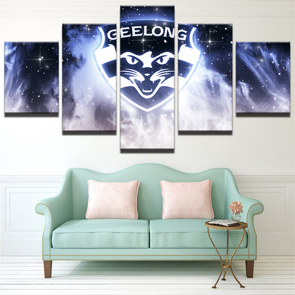 AFL 5 Panel Canvas Geelong Cats