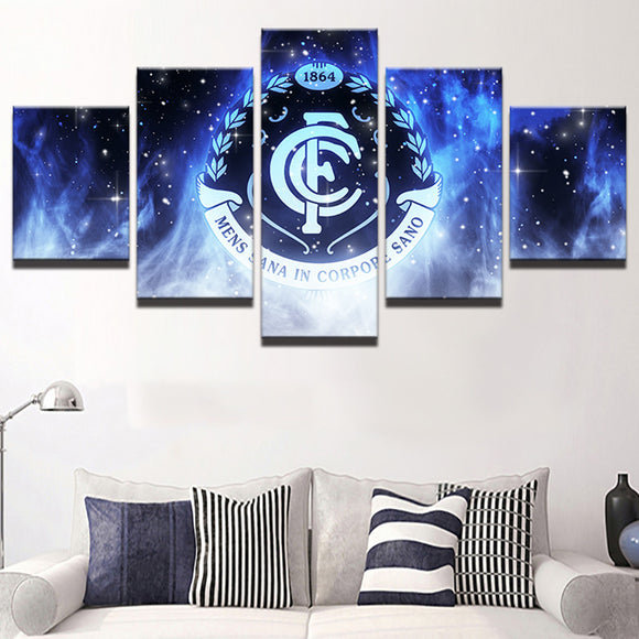 AFL 5 Panel Carlton Canvas Print - Urban Street Canvas