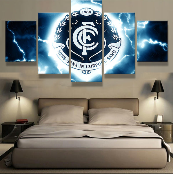AFL Carlton 5 Panel Painting On Canvas - Urban Street Canvas