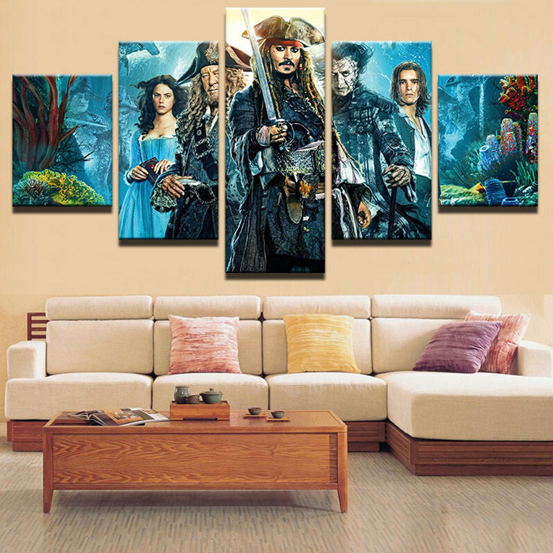 5 Panels Movie Pirates Of The Caribbean On Canvas - Urban Street Canvas