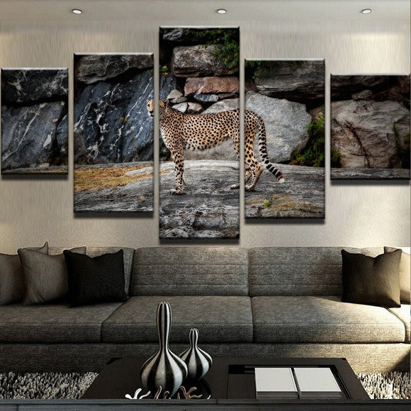 Oil Canvas Painting 5 Panel The Leopard - Urban Street Canvas
