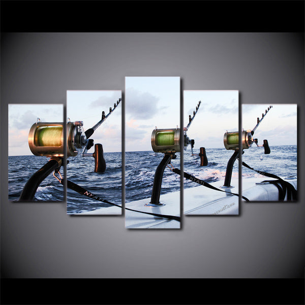 5 Pieces canvas Fishing rod at sea Canvas - Urban Street Canvas