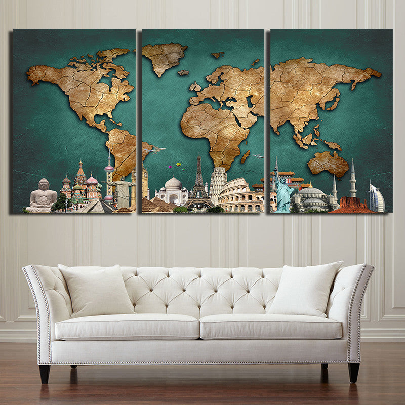 3 Pieces World Map Canvas Urban Street Canvas