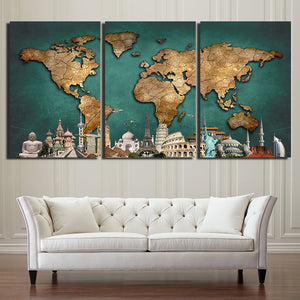 3 Pieces World Map Canvas - Urban Street Canvas