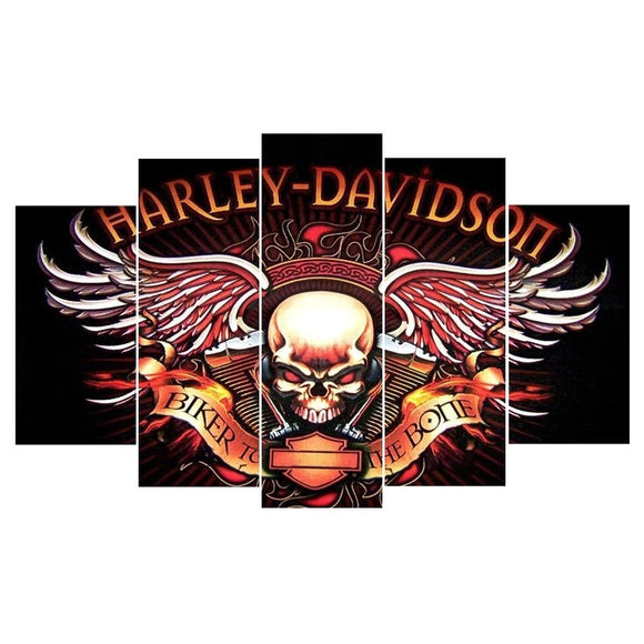 5 Panel Harley Davidson Painting On Canvas