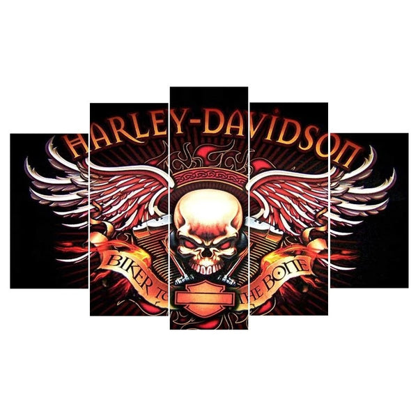 5 Panel Harley Davidson Painting On Canvas - Urban Street Canvas