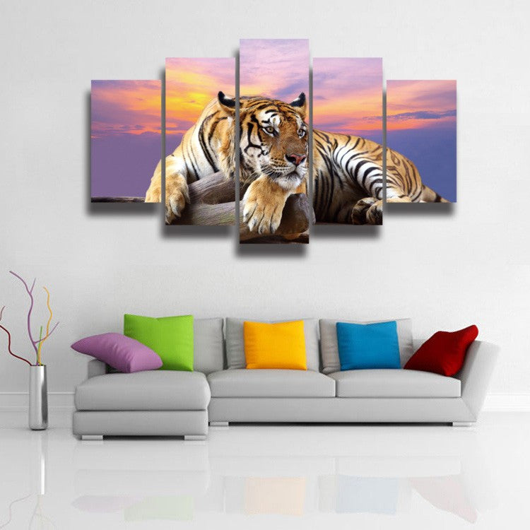 5 Panel Animal Tiger Canvas For Living Room - Urban Street Canvas