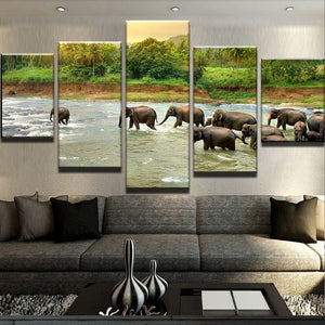 5 Panel The Water Of Elephant For Living Room Canvas - Urban Street Canvas