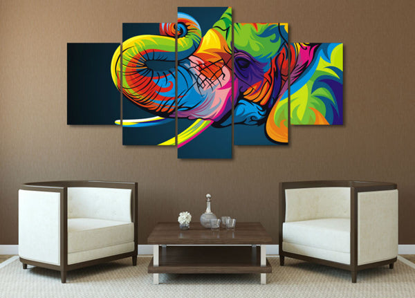 Home Decor 5 Panel Colorful Elephant Painting On Canvas - Urban Street Canvas
