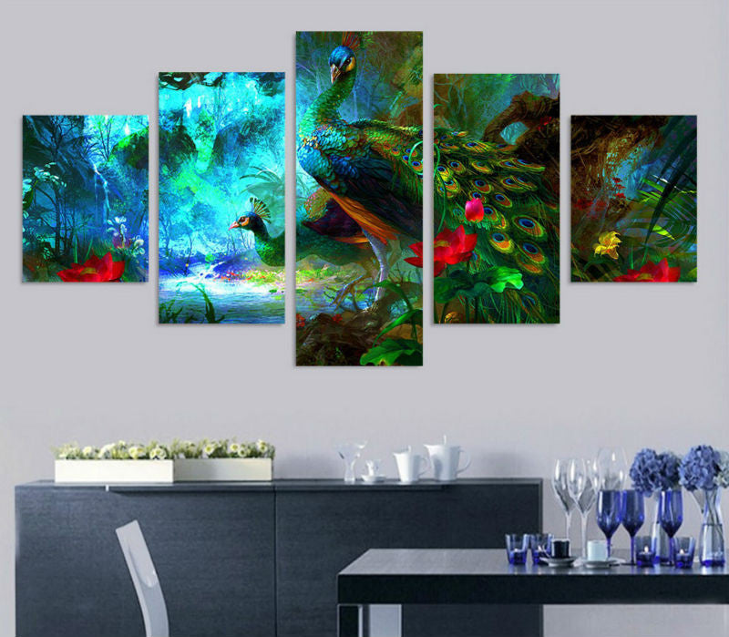 5 Panel Colorful Peacock Painting on Canvas - Urban Street Canvas