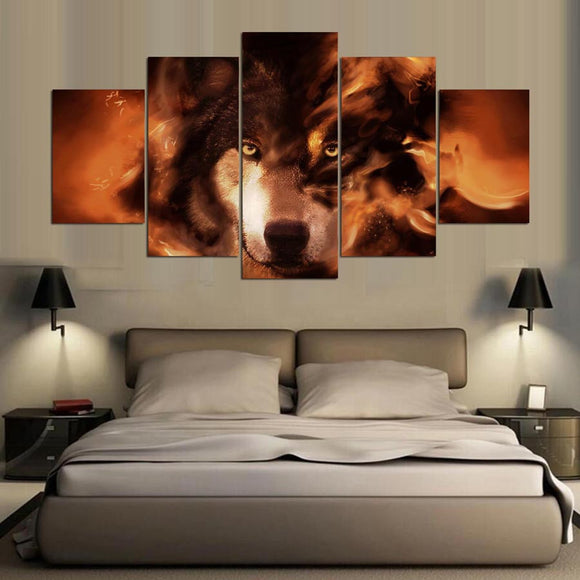 5 Panels Animal Wolf Canvas - Urban Street Canvas