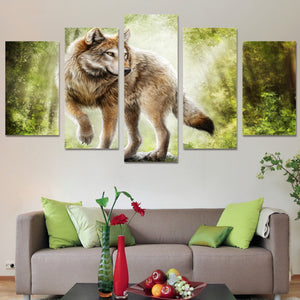 5 Panel Animal The Wolf Landscape Canvas - Urban Street Canvas