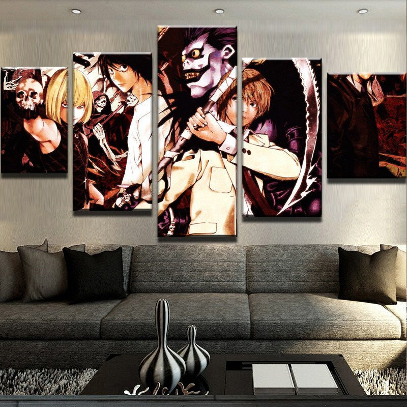 5 Panel Anime Cartoon Character on Canvas - Urban Street Canvas