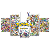 5 Pieces Pocket Monster Pokemon Animated Cartoon Characters - Urban Street Canvas