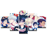 5 Panel Anime Cartoon Characters Uri & Victor - Urban Street Canvas