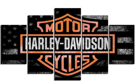 5 Pieces HD Harley Davidson Canvas - Urban Street Canvas