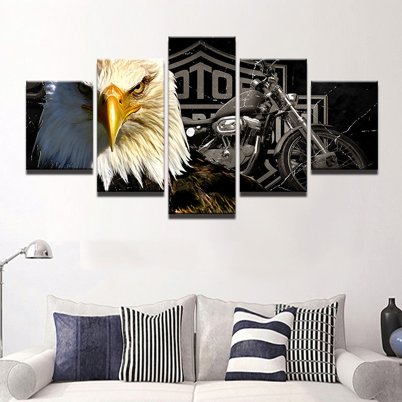 Frames 5 Panel Animal Eagle Harley Davidson Wall Canvas - Urban Street Canvas