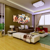 5 Panel Cartoon Game Characters Wall Art Canvas - Urban Street Canvas